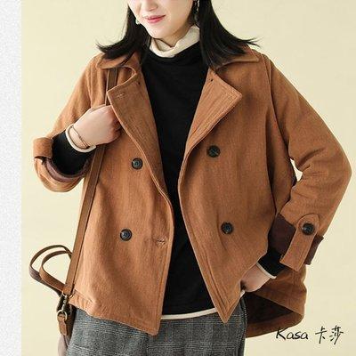 嫻靜雅致♥純棉外套女 斜紋雙排扣外套 休閒短款外套/3色