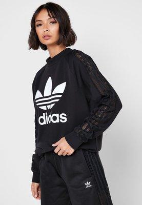 【Dr.Shoes 】Adidas Originals LACED CREW 女裝 黑 蕾絲 休閒 大學T FM1752