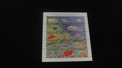 【大三元】美洲郵票-格瑞那達-A67各國動物專題小全張-海中魚類 ~原膠