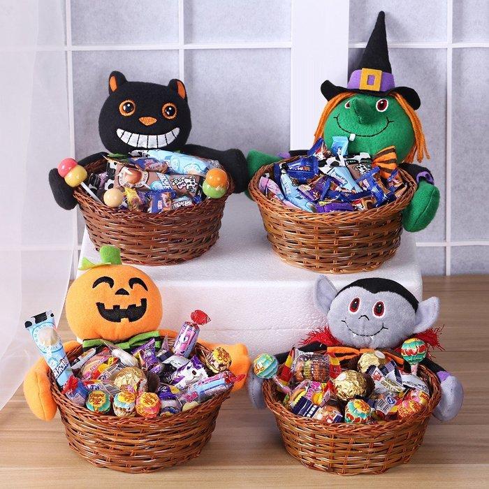 萬聖節裝飾用品道具幼兒園寶寶創意可愛鬼節南瓜頭巫婆盒子糖果籃