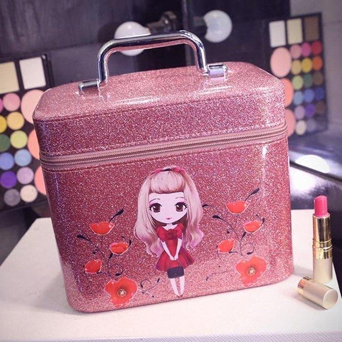 亮晶晶化妝包韓國專業大容量化妝箱手提防水化妝品收納包可愛帶鏡