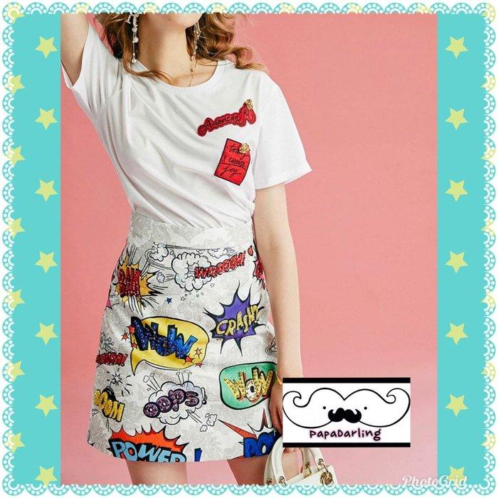 PapaDarling 19SS 獨家訂製款字母亮鑽白色上衣 T恤穿搭 百搭字母亮片提花a字短裙 套裝 短袖裙裝