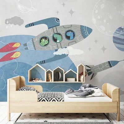 佩奇壁纸北歐卡通火箭兒童房墻紙男孩房間壁紙臥室無縫裝飾定制墻布壁畫小猪佩奇