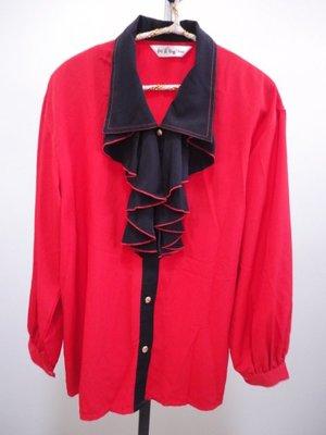 99元起標~Yin Shun ~復古風荷葉領長袖襯衫~SIZE:F
