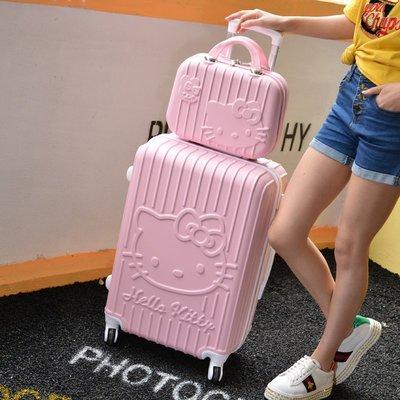 【易發生活館】可愛卡通KT貓hello kitty旅行箱 20寸24寸卡通拉杆箱 萬向輪 大臉貓 學生行李箱 登機箱