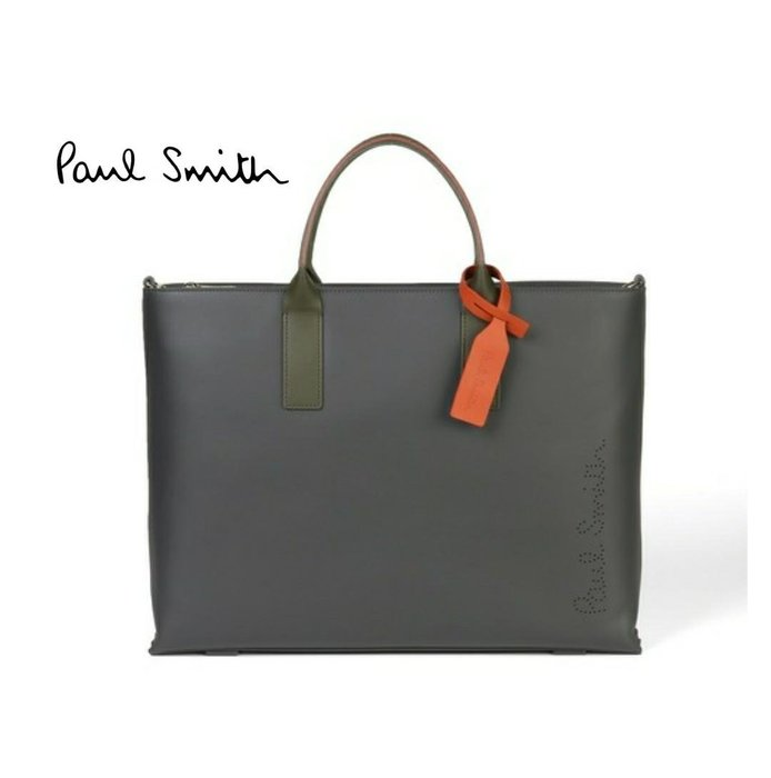 Paul Smith  ( 深灰色 )  真皮 手提包 肩背包 托特包 公事包 中性款|100%全新正品|特價!