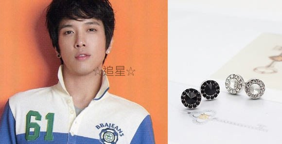 ☆追星☆ A86(三款可選)閃鑽+水鑽鑲邊耳環(1個)ASMAMA正品 韓國進口 繁星拱鑽CN Blue鄭容和