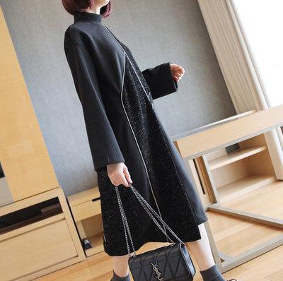 連身裙【氣質黑寬鬆不規則拼接連身裙】☆sandy☆魔法櫥窗A18-2356