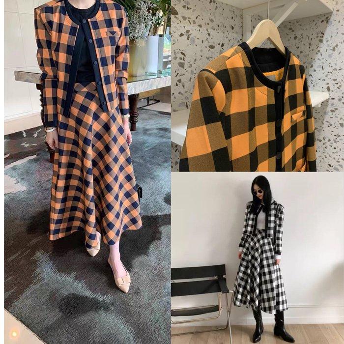 2色韓國 橘格子套裝➰撞色格子外套+格子裙➰sal7784q