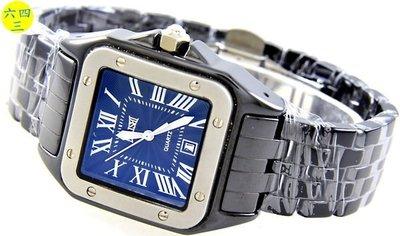 (六四三精品)高級方型坦克型陶瓷錶殼及錶帶(高硬度).時尚流行精準錶...