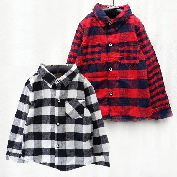 【班比納精品童裝】韓風紳士大格紋襯衫上衣-紅格【BO150731006】