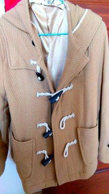 日本帶回下標就賣 品牌amm連帽日本品牌棕色厚毛料大衣-牛角扣