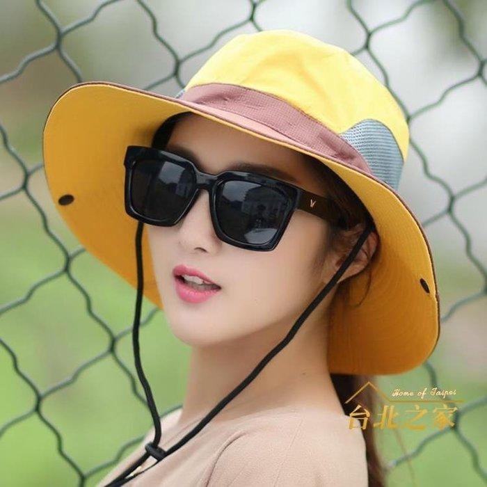 漁夫帽戶外帽子情侶漁夫帽女可折疊太陽帽夏季防曬帽騎車遮陽旅游登山帽 古月醬子館
