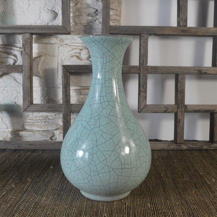 百寶軒 仿古瓷器復古南宋官窯風格藍釉玉壺春瓶花瓶擺件古董古玩收藏 ZK1516