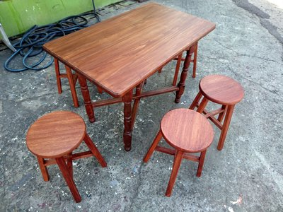 A065 {崙頂傳統原木家具行}~杉木合桌配椅頭仔 【接受訂作 訂色】須訂