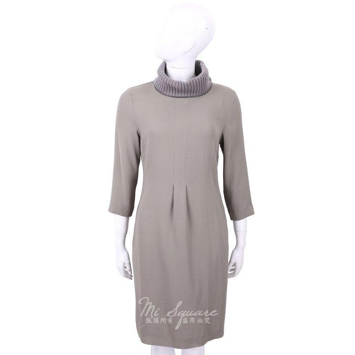 米蘭廣場 FABIANA FILIPPI 美麗諾羊毛灰綠色拼接高領七分袖洋裝 1810043-06