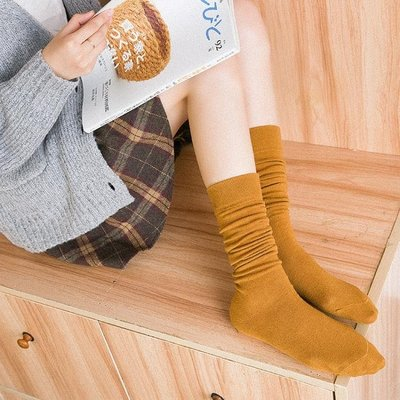 襪子女春夏中高筒襪小腿及膝襪學院風棉質韓國不過膝襪長筒堆堆襪