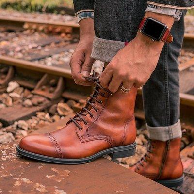 有家正韓新品2020新款英倫風靴子男真皮復古馬丁靴潮側拉鍊短靴機車靴保暖皮靴
