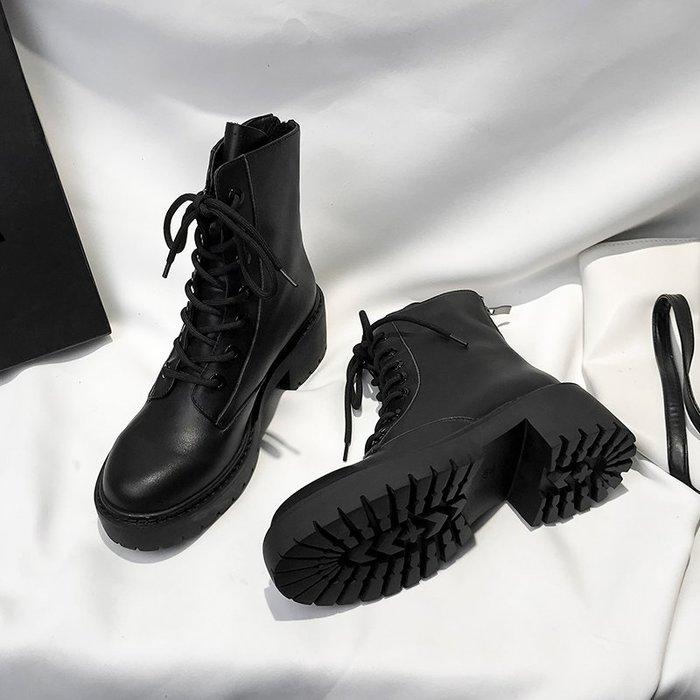 冬季保暖女靴 馬丁鞋 長靴機車靴 韓版百搭黑色馬丁靴女秋款粗跟帥氣短靴百搭靴子機車靴潮