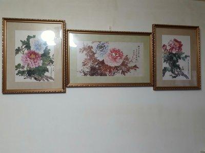 手繪藝術品,富貴國畫三幅