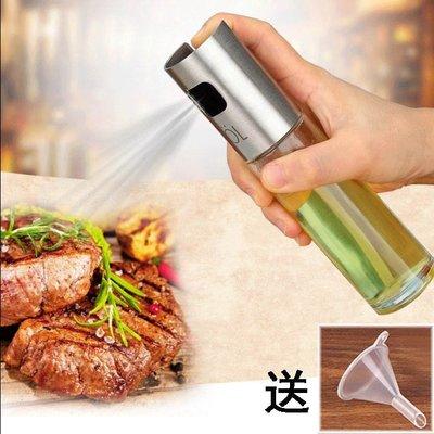 304不銹鋼噴油壺 噴油瓶 燒烤噴霧食用玻璃油醋瓶 廚房噴霧器油罐