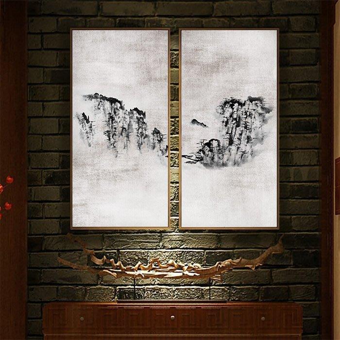 新中式水墨意境山水裝飾畫畫芯高清微噴打印壁畫掛畫客廳畫(2款可選)