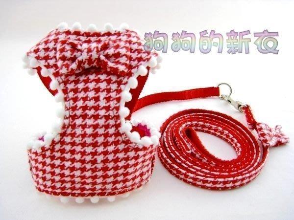 *狗狗的新衣*~ peppets -千鳥紋背心式透氣胸背帶+拉繩 紅色 ~XS,S,M,L