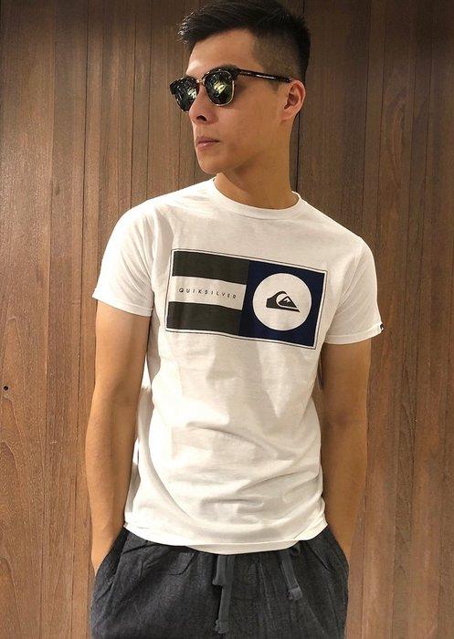 美國百分百【全新真品】Quiksilver 閃銀 T恤 T-shirt 短袖 衝浪 潮流 logo 白色 S號 G691