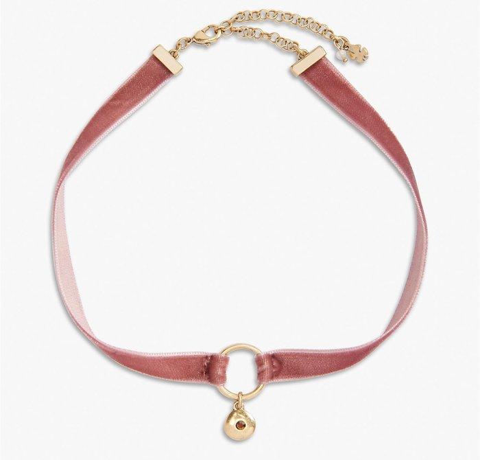 大降價!全新美國品牌 Lucky Brand 低調華麗粉紅色絨布小墜頸鍊項鍊,只有一件!低價起標無底價!本商品免運費!