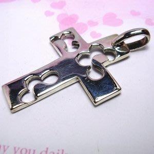 琥珀貓銀飾DIY【925純銀飾品】墜飾~A0323~雲朵十字架~一個