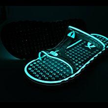 DL 夜光系列 海灘拖鞋/涼鞋 AIR-FLOOR BREEZY 高彈透氣洞洞鞋/白底藍光