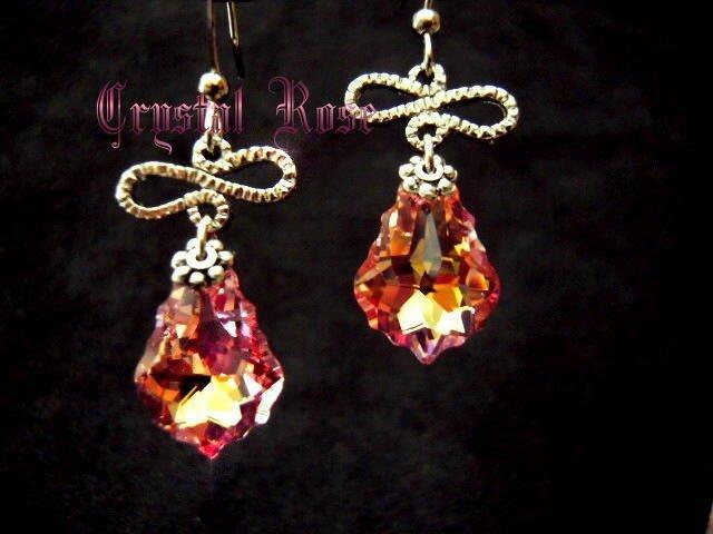 ※水晶玫瑰※ SWAROVSKI 巴洛克水晶 耳勾式耳環(DD137)~僅此一對