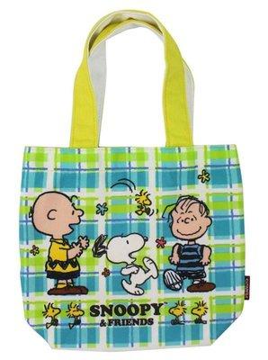 【卡漫迷】 史努比 手提袋 藍綠格紋 ㊣版 查理 史奴比 Snoopy 外出袋 餐袋 便當袋 手提包 外出包 魔鬼氈式