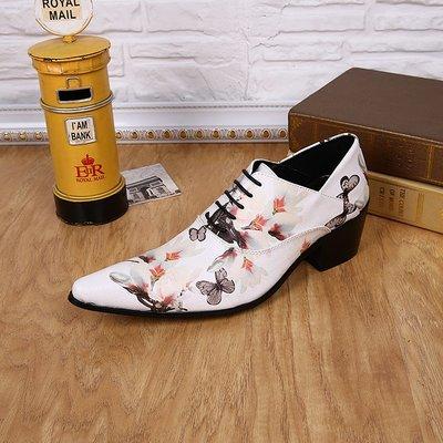 個性時裝男皮鞋 個性時尚休閑白色花皮發型師尖頭鞋美發師高跟潮流韓版t臺男鞋