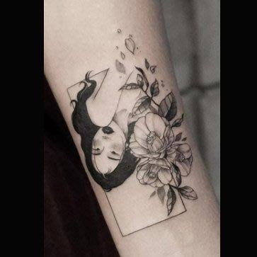 【萌古屋】花朵黑髮美少女12 - 逼真男女防水紋身貼紙刺青貼紙 K61