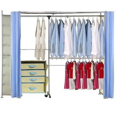 巴塞隆納家具─AH-18伸縮衣櫥(附八層櫃)  ※第五代豪華型防塵伸縮衣櫥※