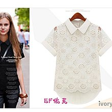 限量20件 (活動價135)(對不起 缺貨不補)=EF依芙= 1509 街范潮流 歐風花朵 雪紡蕾絲 T恤