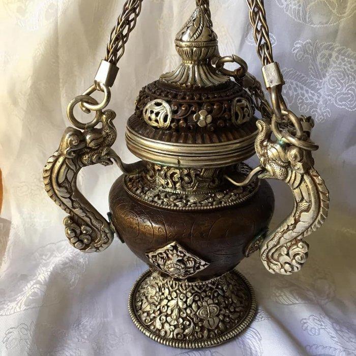 甘丹文物~^^ 尼泊爾手工 手提煙供爐 手工莊嚴 用料扎實