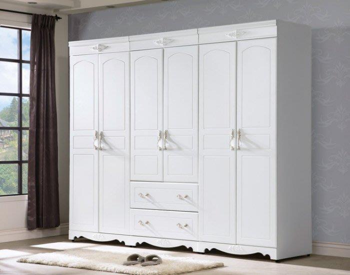 美式衣櫃臥室白色2門衣櫃歐式整體大衣櫃兒童櫃儲物