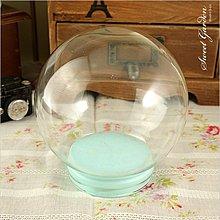 Sweet Garden, 12cm玻璃球罩+藍色軟膠塞 送亮粉 DIY水晶球 氣象球 油水球 雪花球 星空球 刮痕較多