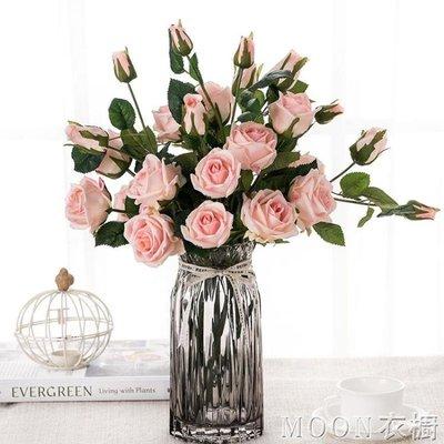 【蘑菇小隊】多頭 手感玫瑰花絹花假花 家居裝飾插花擺件 客廳花藝婚禮擺放花-MG14363