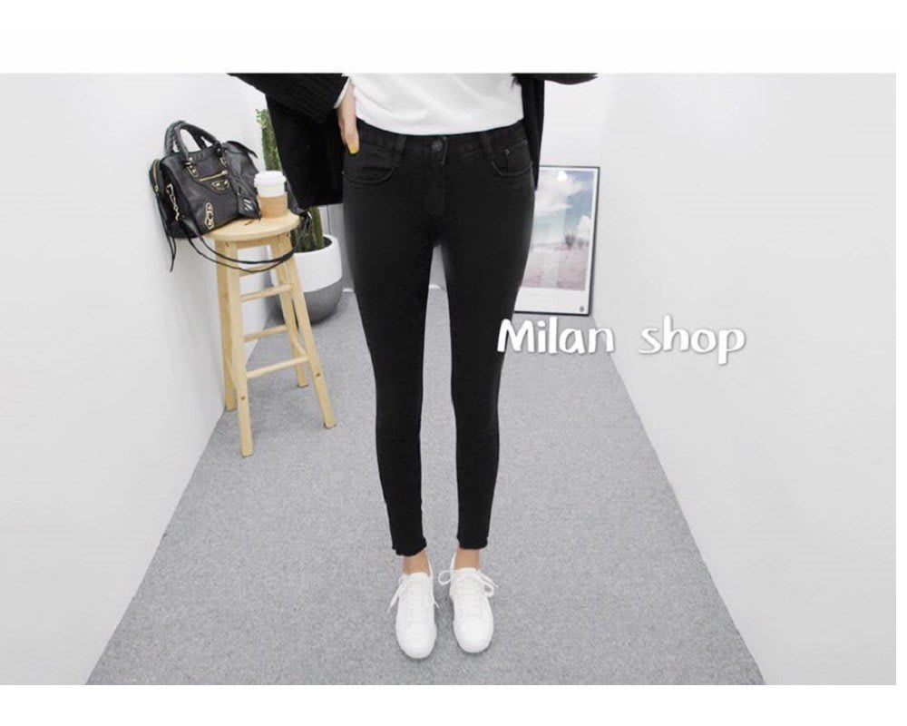Milan Shop☆網路最低價 正韓Korea Milan獨家款必買Rex超瘦純黑挺版九分窄管AB褲$880(含運)