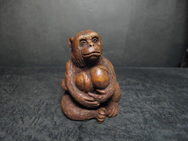 老竹雕◎  靈猴獻壽 竹根巧雕