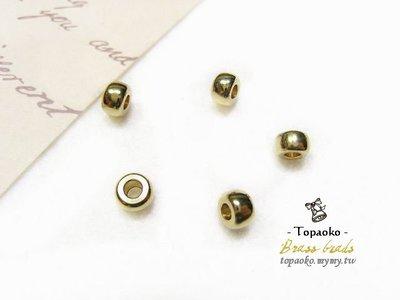 《晶格格的多寶格》串珠材料˙隔珠配件 實心黃銅厚切扁圓隔珠一份(15P)【F7291】5*3mm