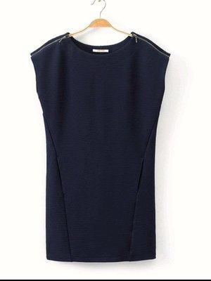 法國品牌CAMA IEU知性優雅 女圓領拉鍊肩線 連衣裙 長版上衣40號