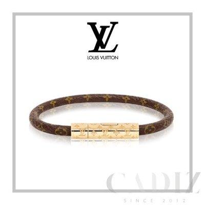 法國正品 Louis Vuitton LV CONFIDENTIAL BRACELET 經典印花簡約真皮手環M6334E