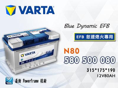 【茂勝電池】VARTA 華達 N80 EFB 580500080 怠速熄火 起停裝置 專用 福斯 Sharan 專用