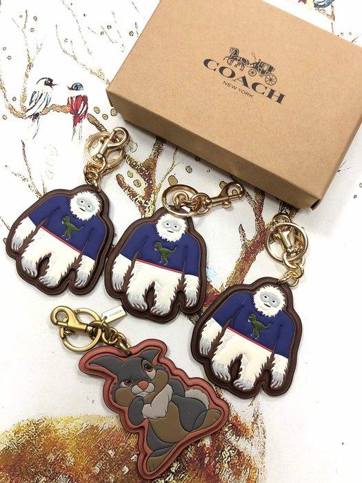 小皮美國正品代購 COACH 女士鑰匙扣 雪山怪桑普兔圖案 時尚可愛