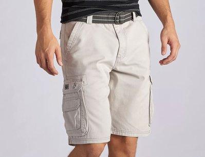 【美國Levis專賣】送鐵環腰帶LEE Dungarees Cargo 重磅 米白色立體口袋短褲29-42腰優惠501