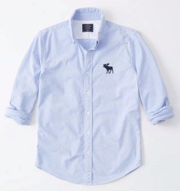 AF Abercrombie&Fitch 大麋鹿 牛津襯衫 長袖 襯衫 淺藍色